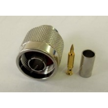 ВЧ разъем N типа вилка (папа), N-male, обжимной, под коаксиальный кабель 8D-FB, пин под пайку.