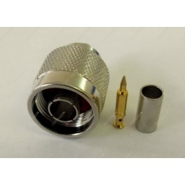 ВЧ разъем N типа вилка (папа), обжимной, под коаксиальный кабель 8D-FB, пин под пайку.