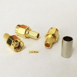 ВЧ разъем S-A111F, RP SMA серии , реверсный , мама (вилка), обжимной,для коаксиального кабеля  RG-58, пин под пайку.